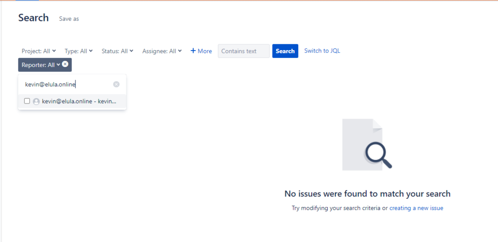 Jira email search