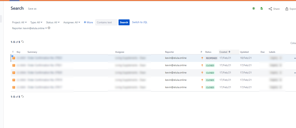 email search in Jira